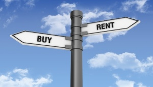 Rent or Buy signs for the housing market