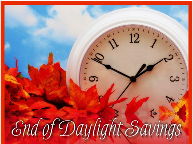 Reminder to set you clock back 1 hour for daylight savings 2013