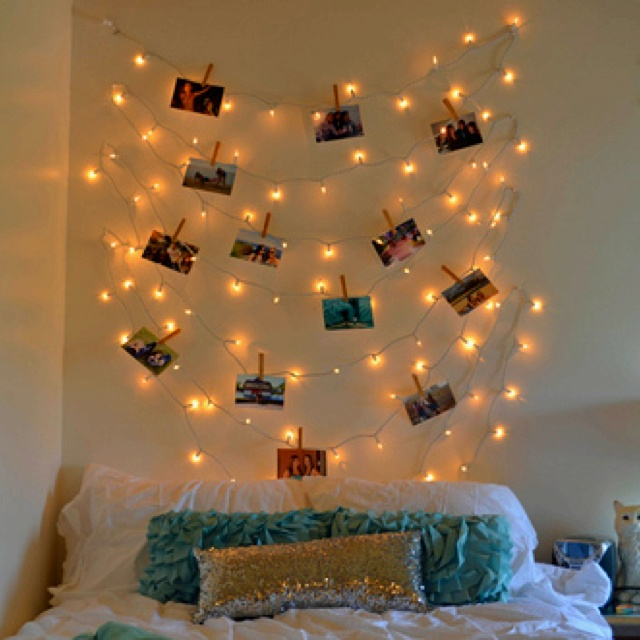christmas lights and photos for bedroom decor