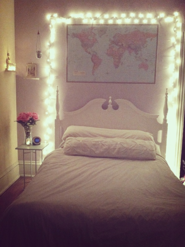 Frame your bed with christmas lights