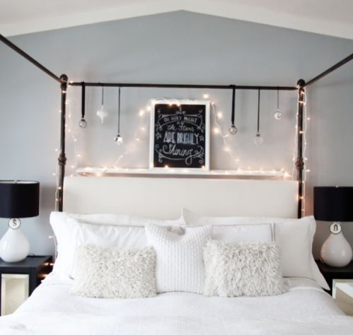 Christmas lights to decorate a bed