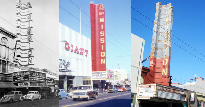 New Mission Theater in 1943, 1975, 2006