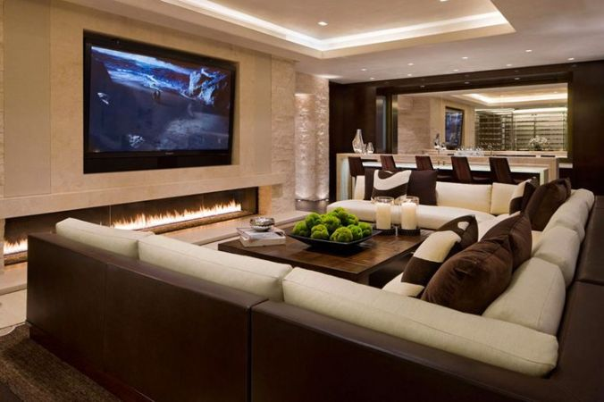Luxury Fireplace in media room