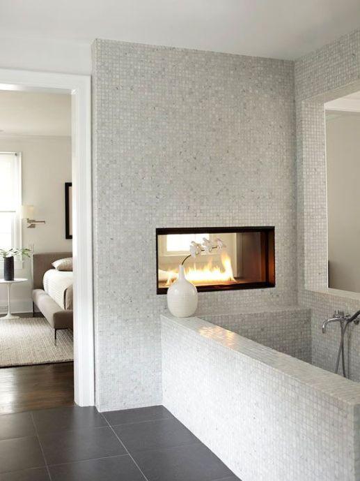 Luxury Bathroom with Fireplace