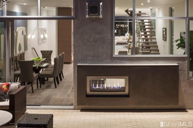 Outdoor modern luxury fireplace